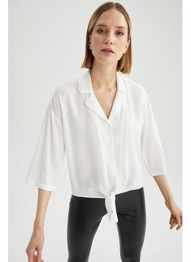 DeFacto Basic Yarım Kollu Belden Bağlamalı Gömlek Beyaz
